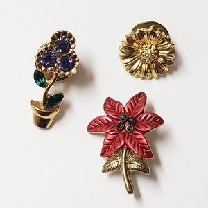 Mini Flower Pin Set, Pins, Brooches, Gifts, Floral